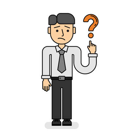 man pointing: Businessman with question mark. Isolated cartoon man pointing on question sign on white background. Concept of confusion, asking and wondering.