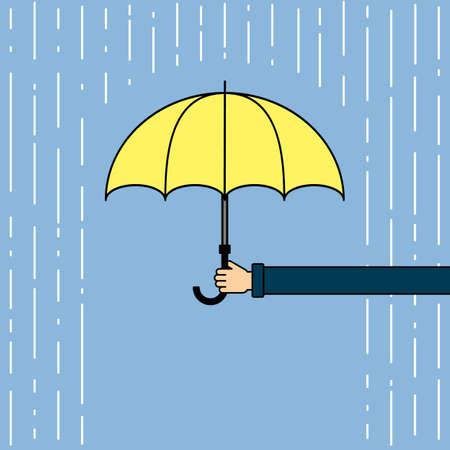 weatherproof: Yellow umbrella with rain. Hand holding umbrella. Concept of insurance agency, protection and safety. Weatherproof umbrella.