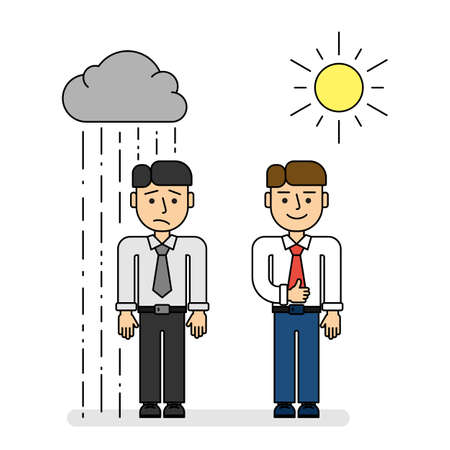 Positive and negative businessmen. Isolated cartoon character on white background. Sad and unhappy man with rain and happy and smiling man with sun. Illustration