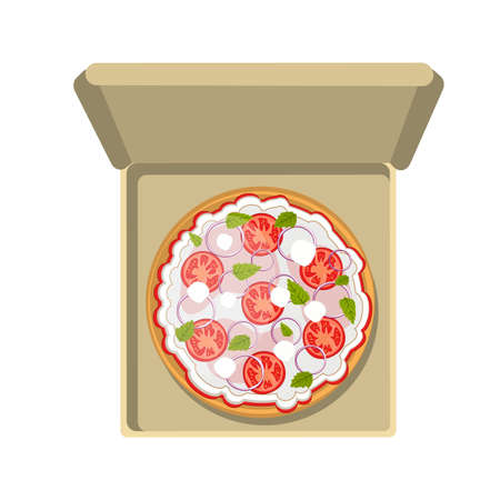 pepperoni pizza: Pepperoni pizza in cardboard box. Fast food meal. Pizza with cheese, tomatoes and more. Hot and fresh snack.