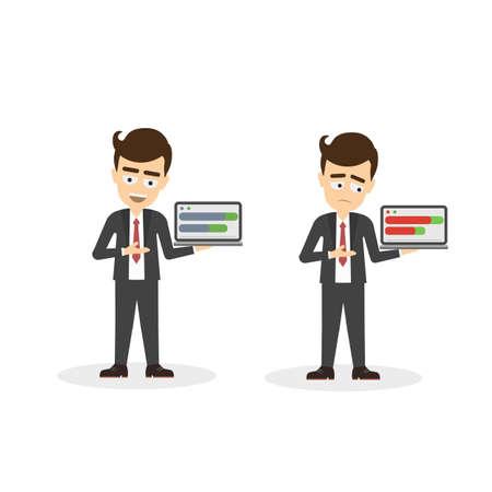 comparing: Businessman with statistics. Happy and sad businessman holding boards and comparing data. Illustration