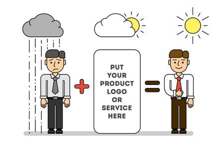 teambuilding: Teambuilding and marketing concept. Put your product  service. Sad man under rain and happy man under the sun.