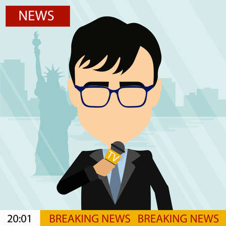 news reporter: Breaking news on tv. Male news reporter with microphone sitting at the table. Latest information. Tv screen with headline.