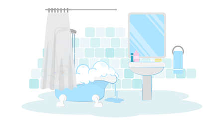 Batroom with tube and shower. Simple blue bathroom with water, foam and tube. Clean room. Illustration