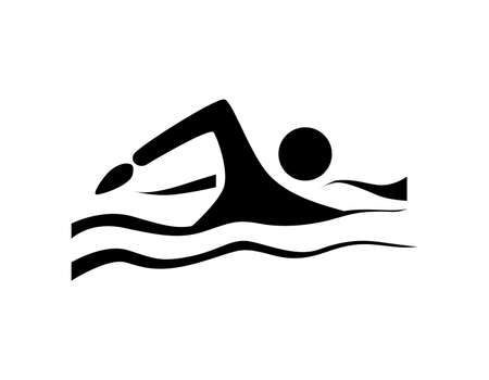 Isolated swim icon. Black silhouette of man swimming in the waves. Concept of swimming pool, summer competition and more.