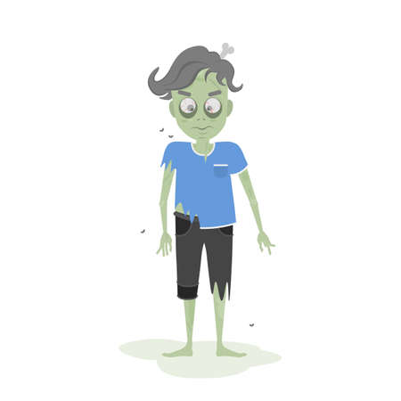 ghoulish: Isolated scary zombie. Green zombie with bone. Scary reanimated monster for halloween decoration.