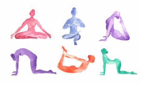 asana: Watercolor yoga set on white background. Yoga poses, asana. Healthy lifestyle and relaxation.