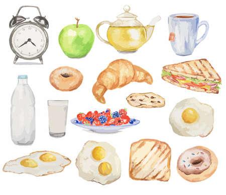 Aquarel ontbijtset. Maaltijden voor de ochtend als croissant, gebakken eieren, spek, thee en meer. Frisse en smakelijke snack.