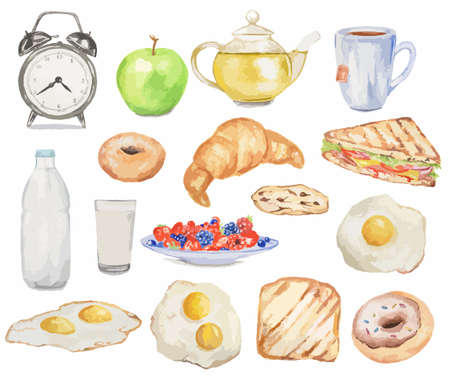 Watercolor breakfast set. Meals for morning as croissant, fried eggs, bacon, tea and more. Fresh and tasty snack. Иллюстрация