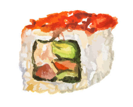 caviar: Isolated watercolor sushi roll on white background. Traditional asian food with caviar, rice and fish.