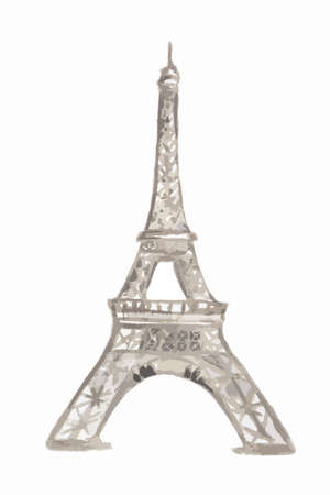 historical building: Isolated watercolor Eiffel tower on white background. Symbol of Paris. Famous historical building.