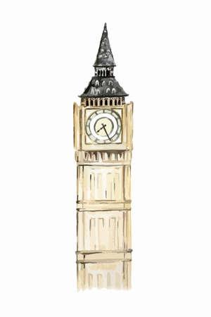격리 된 수채화 흰색 배경에 큰 벤. 영국의 상징입니다. 유명한 역사적인 건물.