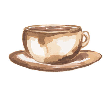 Isolated watercolor coffee cup. Vintage retro coffee cup on white background.