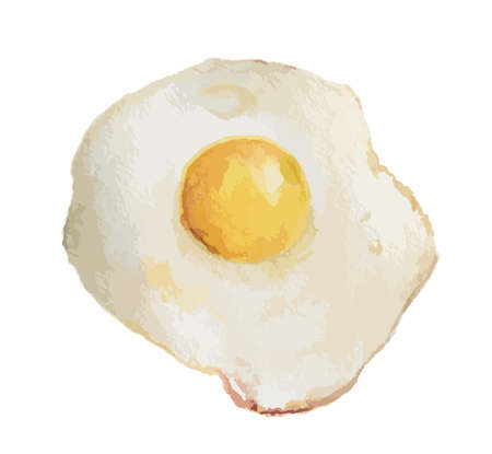 golden egg: Watercolor fried egg on white background. Breakfast meal. Healthy and nutricious food for morning.