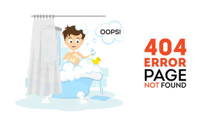 bathroom sign: Oops, page not found concept. Funny cartoon man in the bathroom washing in the bath tub. 404 error. Illustration