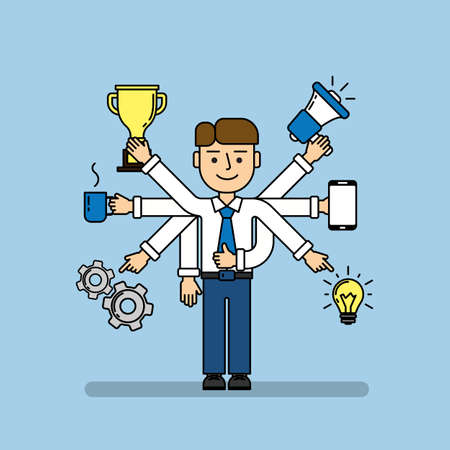 talented: Isolated multitasking businessman. Talented funny man with six hands. Loudspeaker, idea, coffee, golden cup, gear and smartphone. Illustration