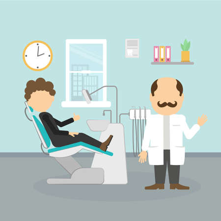 Dentist with patient. Silhouettes of dentist with moustache and male patient at dental cabinet. Dental care and hygiene.
