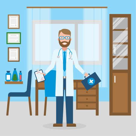 캐비닛의 의사입니다. 의료 캐비닛에 재미 있은 미소 남성 의사. 의료, 응급 처치.