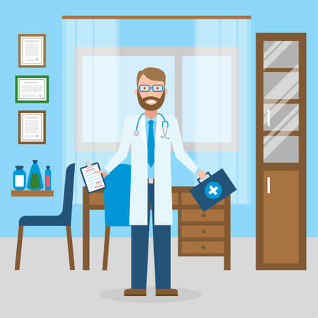 medical treatment: Doctor in the cabinet. Funny smiling male doctor in the medical cabinet. Medical treatment, first aid.