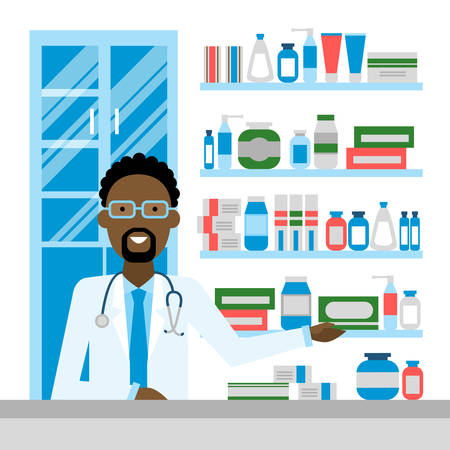drug store: Pharmacist in drug store. Pharmacist in drug store. Handsome african american smiling man in white sitting near shelf with medication. Man in glasses. Illustration