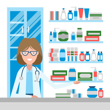 drug store: Pharmacist in drug store. Beautiful smiling woman in white sitting near shelf with medication. Woman in glasses. Illustration