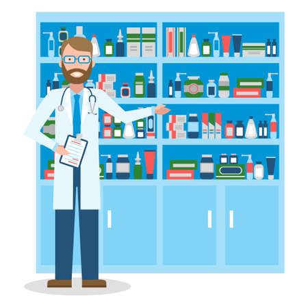 dispensary: Pharmacist in drug store. Pharmacist in drug store. Handsome smiling man in white standing near shelf with medication. Man in glasses. Illustration