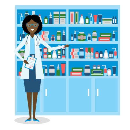 drug store: Pharmacist in drug store. Beautiful smiling african american woman in white standing near shelf with medication. Woman in glasses.