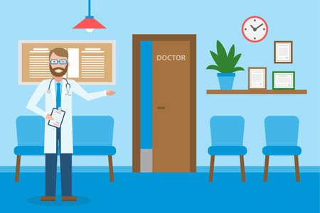 待合室で医者。待合室に白い立ってハンサムな笑みを浮かべて男。椅子と健康管理情報と病院のインテリア。