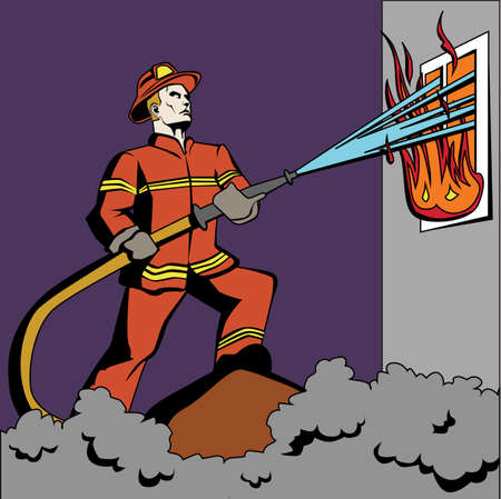 spraying: Pop art firefighter. Retro fireman in red uniform and helmet spraying water on flame. Firefighting with hose. Illustration