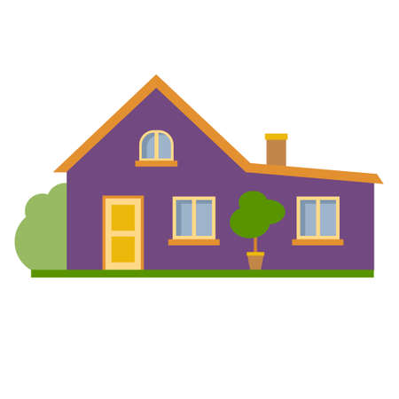suburban house: Isolated cartoon house. Simple suburban house. Concept of real estate, property and ownership.