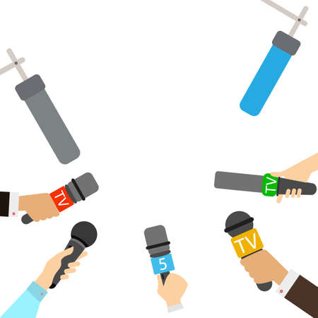 radio broadcasting: Journalists with microphones on white background. Breaking news concept. TV and radio broadcasting. Live.