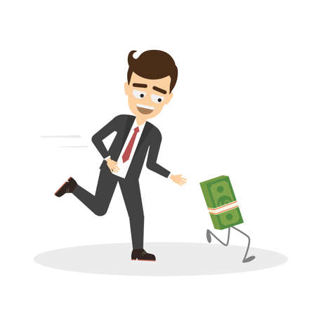 Businessman chase money. Funny cartoon character trying to chase money. Concept of finance and currency. Rat race. Illustration