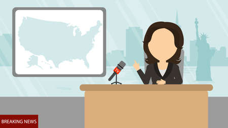 newsreader: Breaking news on tv. Female news reporter with microphone sitting at the table. Latest information. Tv screen with headline. Illustration