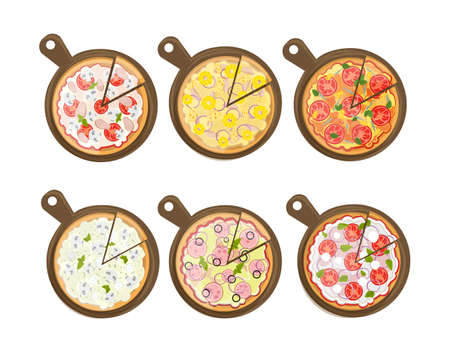margherita: Isolated pizza set on white background. Different pizzas on wooden boards. Pepperoni, hawaii, european, margherita and more.