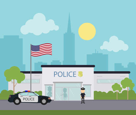 City police station. Building with police car and american flag. Security department.