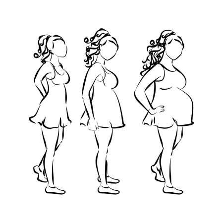 motherhood: Motherhood and pregnancy concept. White silhouette of pregnant women Illustration