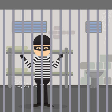 Robber behind the bars. Prisoner sitting in the jail. Funny cartoon character in striped outfit and black mask.