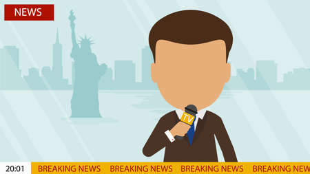 anchorman: Live news presenter. Latest news. On air. Silhouette of anchorman with microphone. Professional journalist. Breaking news.