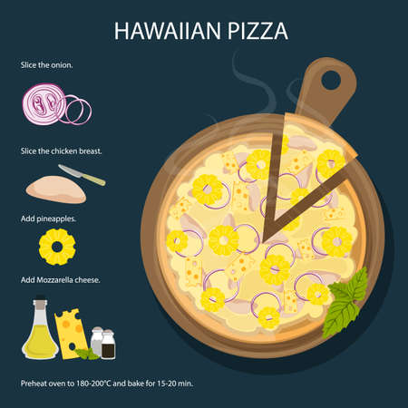 Hawaiian pizza recipe. Fresh and delicious pizza with ham, pineapple and cheese. Italian cuisine.