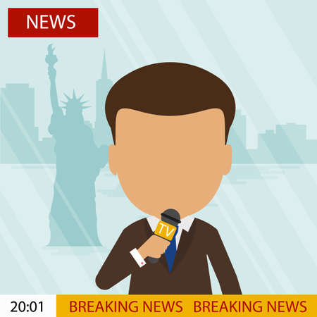 presenter: Live news presenter. Latest news. On air. Silhouette of anchorman with microphone. Professional journalist. Illustration