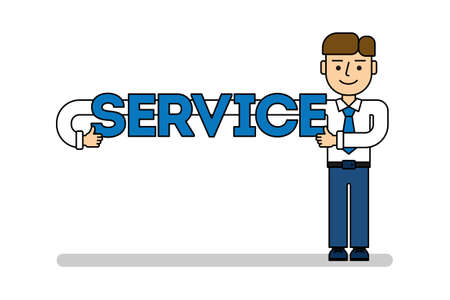 Businessman with service. Isolated cartoon character with service title on white background.