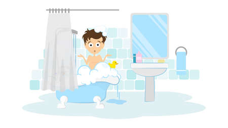 nude young: Surprised man in the bathroom. Awkward situation. Man washing in the shower with foam and bubbles. Illustration