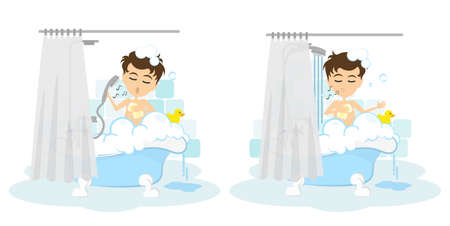 Man takes shower set. Happy smiling cartoon man in the tube with foam, bubbles and yellow duck.
