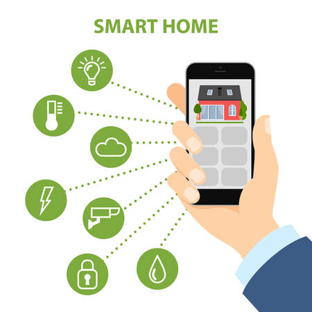 Smart home in smartphone. Isolated smartphone with smart home apps on white background. Controlling home system as energy, conditioning, temperature and more.
