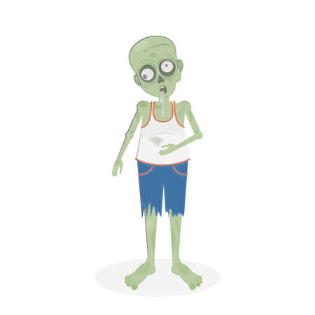 spit: Isolated scary zombie. Green zombie with spit. Scary reanimated monster for halloween decoration.