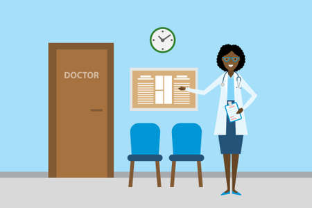 waiting room: Doctor in waiting room. Beautiful smiling african american woman in white standing in waiting room. Hospital interior with chairs and health care information.