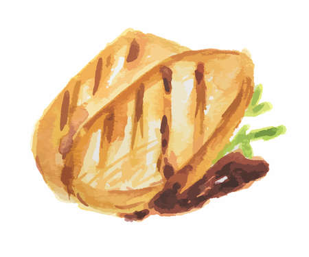 Isolated watercolor grilled meat steak on white background. Fresh and delicious gourmet food. Illustration