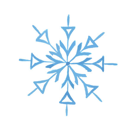 Isolated watercolor snowflake. on white background. Symbol of winter. Beautiful decoration. Illustration