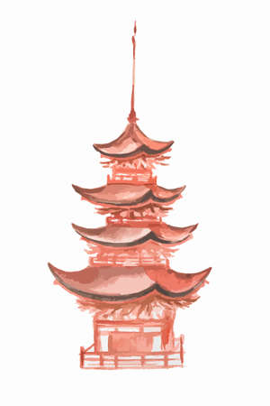 chineese: Isolated watercolor asian tower on white background. Chineese or japaneese style. Asian landmark.