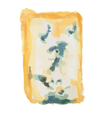 gourmet: Isolated watercolor blue cheese on white background. Delicious gourmet cheese with mold. French product. Illustration